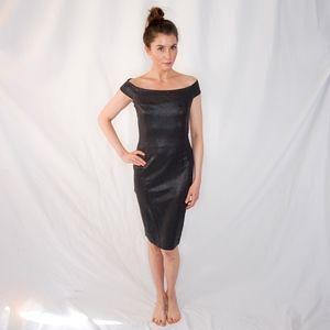 110a3087c09c Olcay Gulsen Off Shoulder Black Shine Dress M 0235